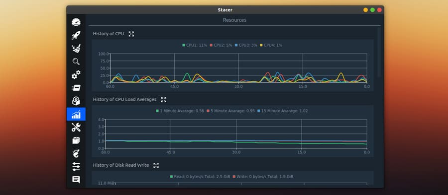 Live resources graphs in stacer