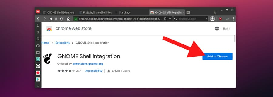 adding gnome shell integration in chrome