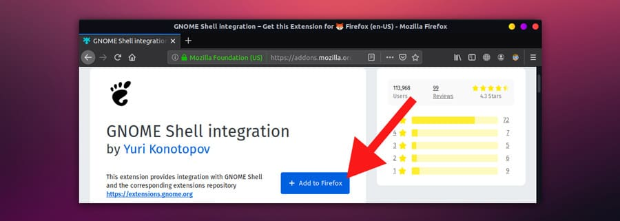 adding gnome shell integration in firefox