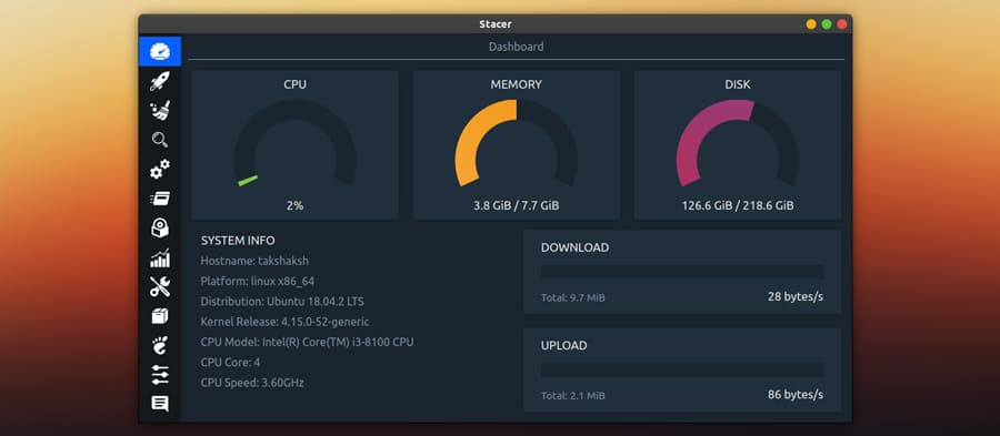 Stacer Dashboard