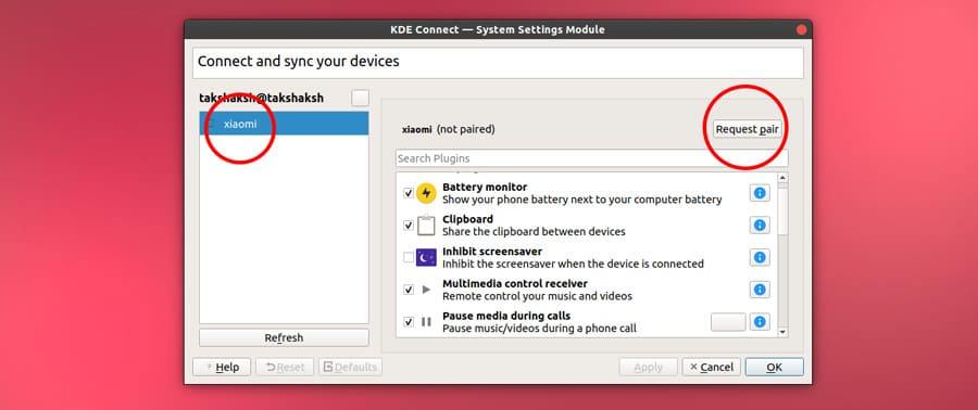 kdeconnect requests pairing to android device