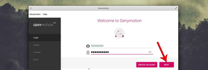 login-in-genymotion