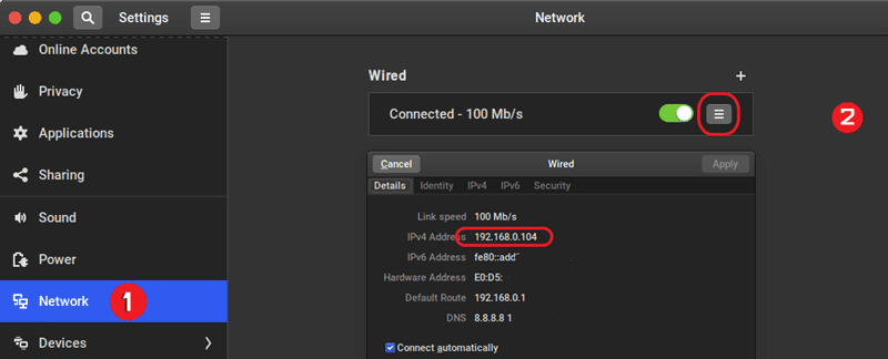 find ip address using settings tool on linux