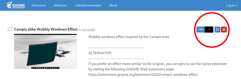Adding and enabling wobbly extension in Gnome