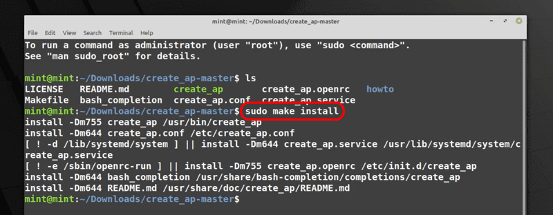 Installing create_ap in the system