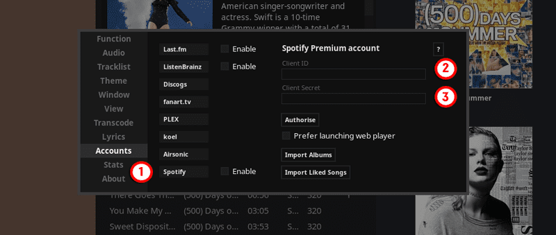 Spotify account sync with Tauton