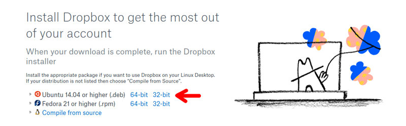 Download Dropbox package file for Linux