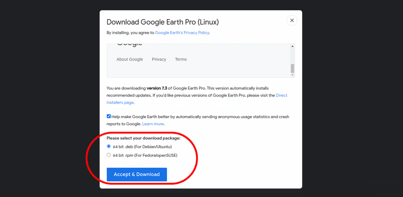 Download google earth for Linux