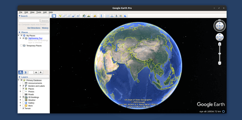 Google earth application running on Linux