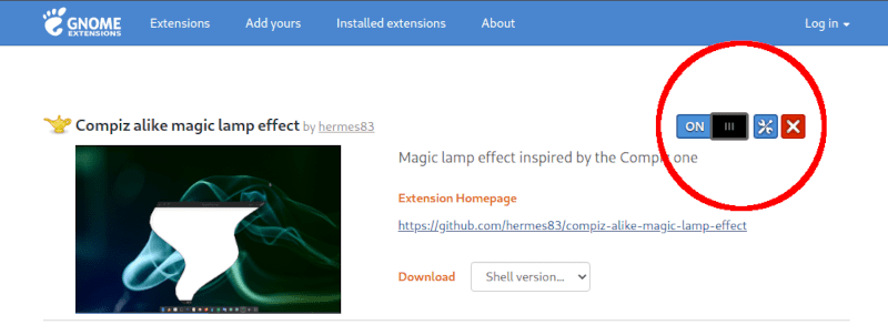 Magic lamp or genie effect Gnome Ubuntu